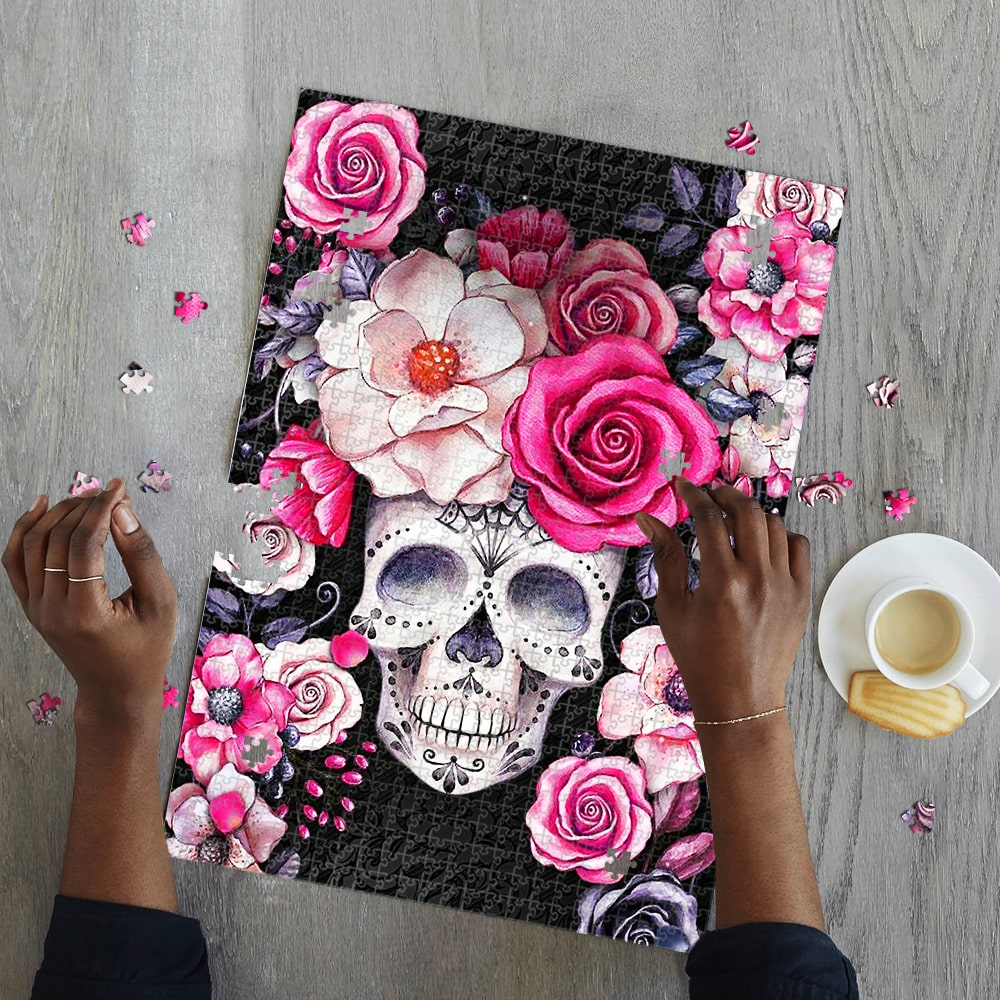 Flower and sugar skull jigsaw puzzle 2