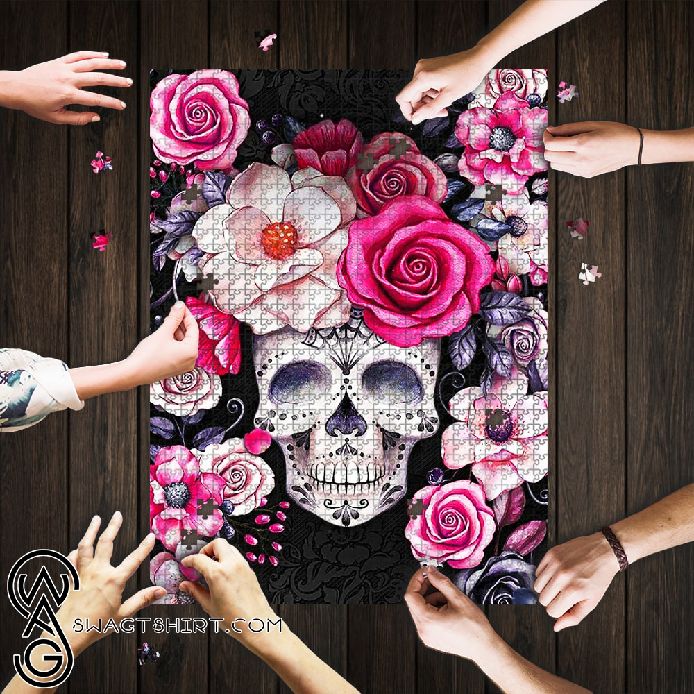 Flower and sugar skull jigsaw puzzle