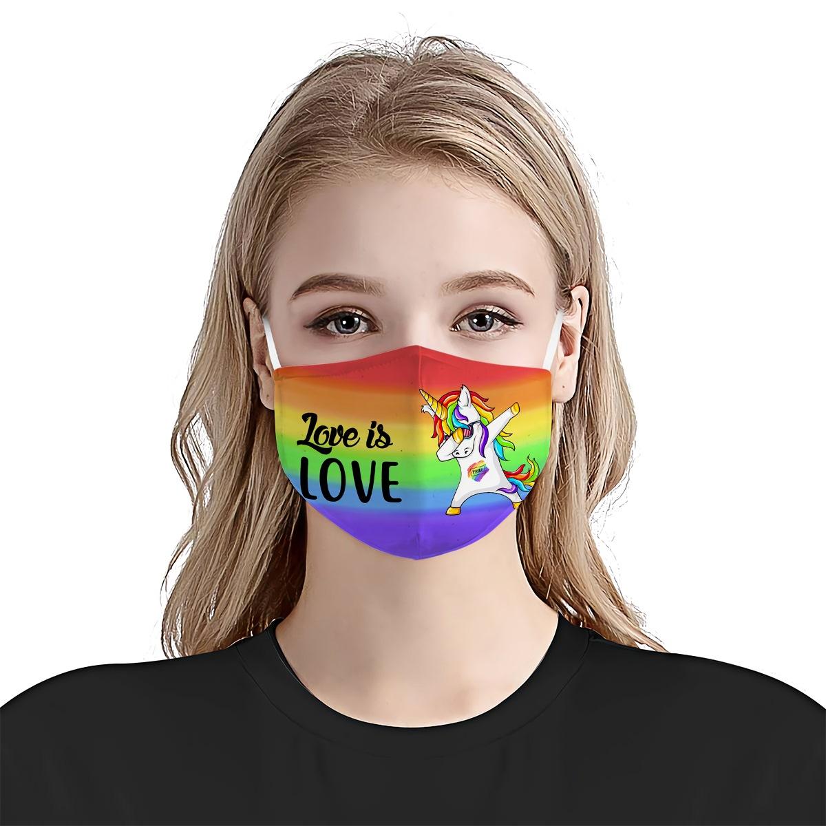 Gay pride unicorn dabbing anti-dust cotton face mask 3