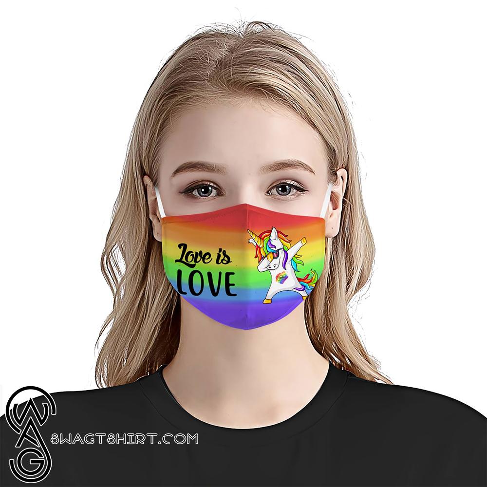 Gay pride unicorn dabbing anti-dust cotton face mask