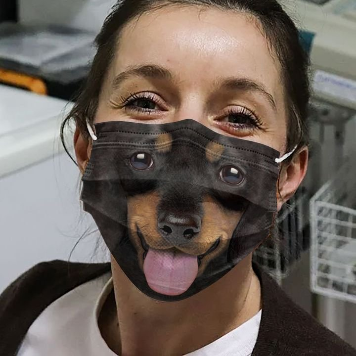 Happy dachshund face anti-dust cotton face mask 3