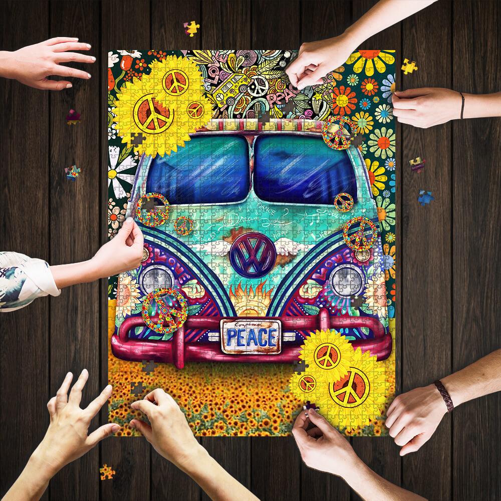 Hippie peace symbol vans jigsaw puzzle 1