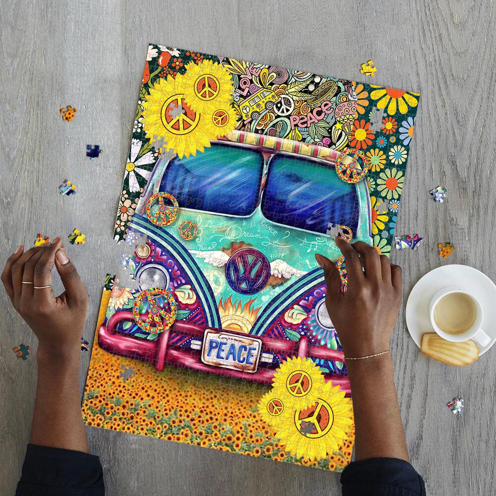 Hippie peace symbol vans jigsaw puzzle 2