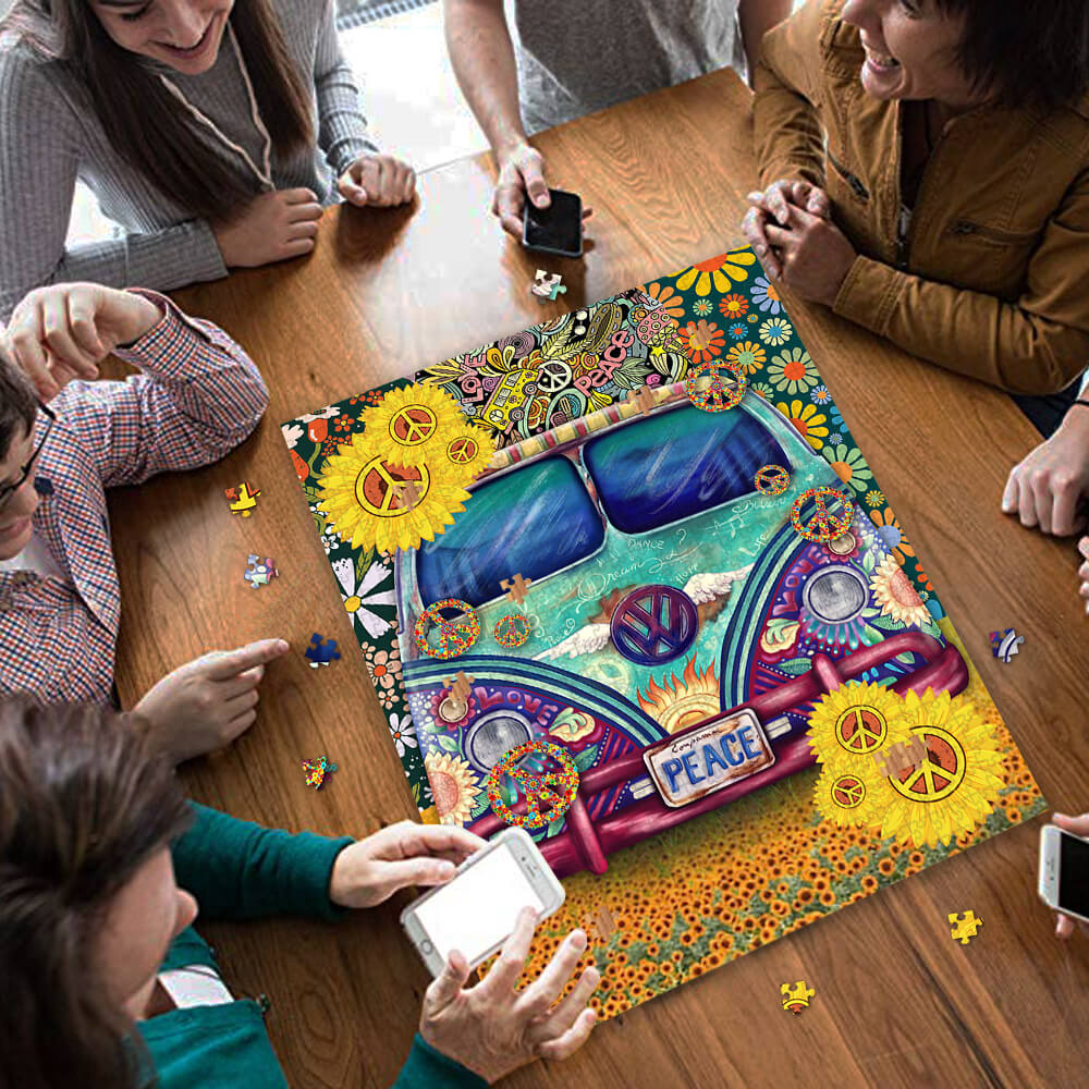 Hippie peace symbol vans jigsaw puzzle 3