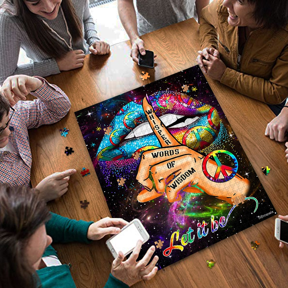 Hippie sexy lips whisper words of wisdom let it be jigsaw puzzle 4