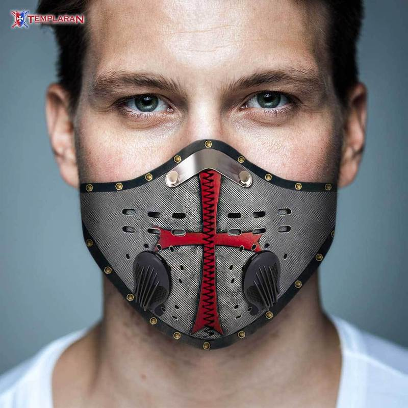 Knights templar symbols filter activated carbon face mask 2