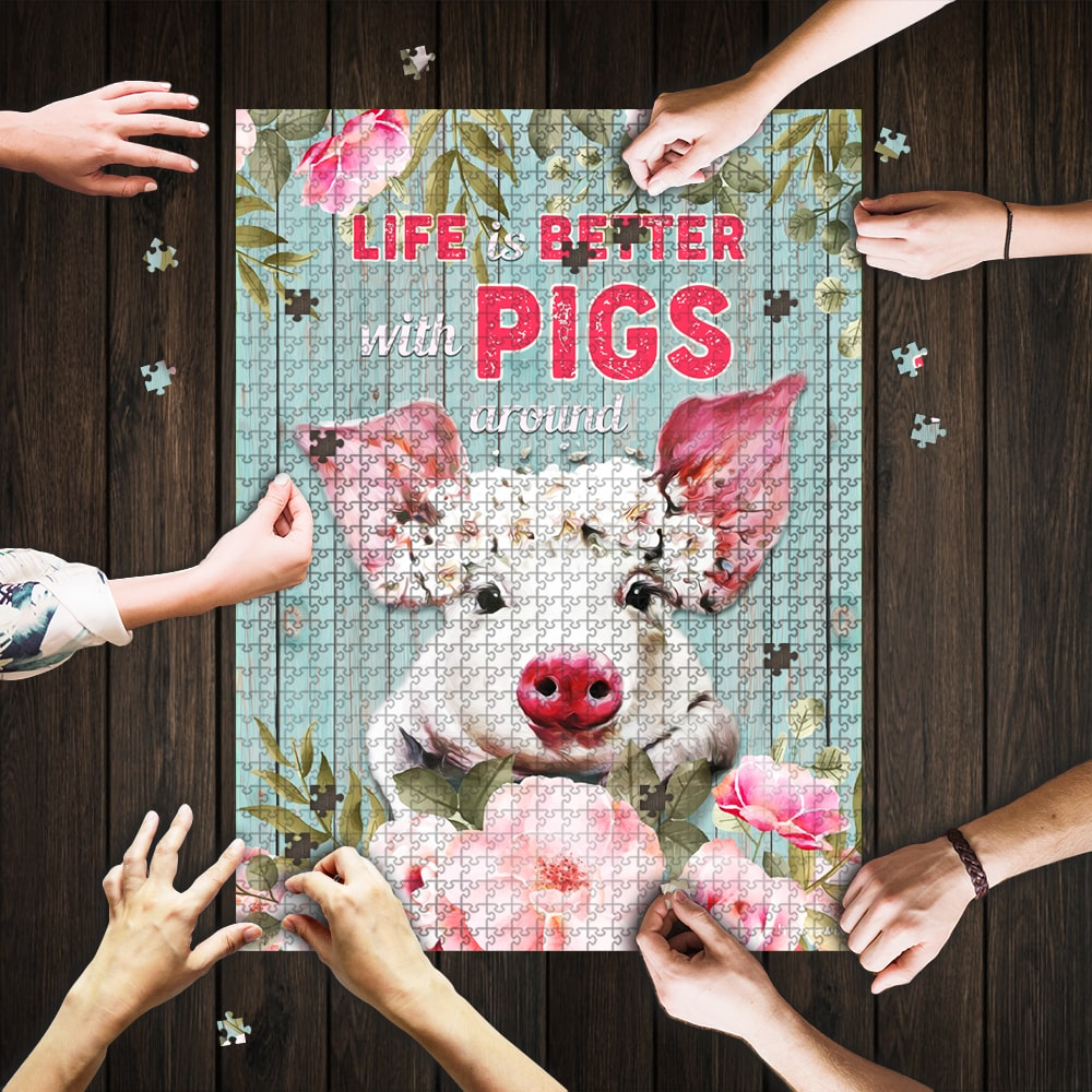 Life is better with pigs around jigsaw puzzle 1