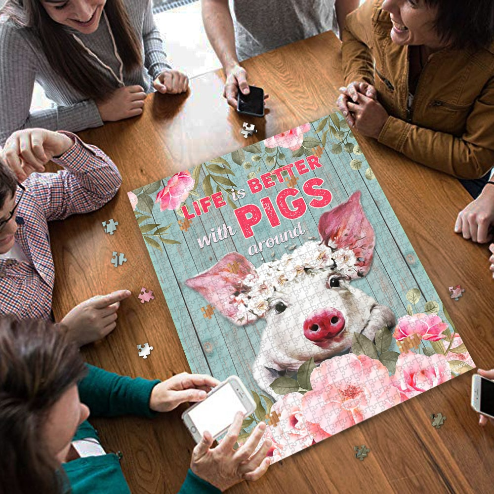 Life is better with pigs around jigsaw puzzle 3