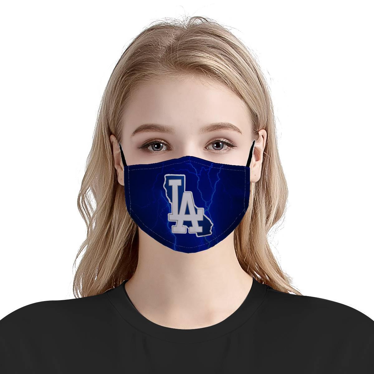 Major league baseball los angeles dodgers team cotton face mask 4