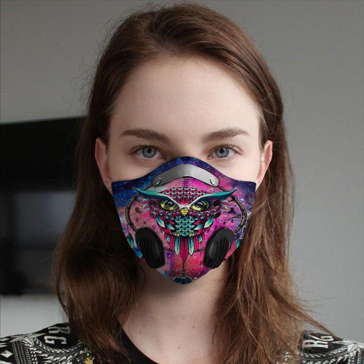 Owl dreamcatcher filter activated carbon face mask 1