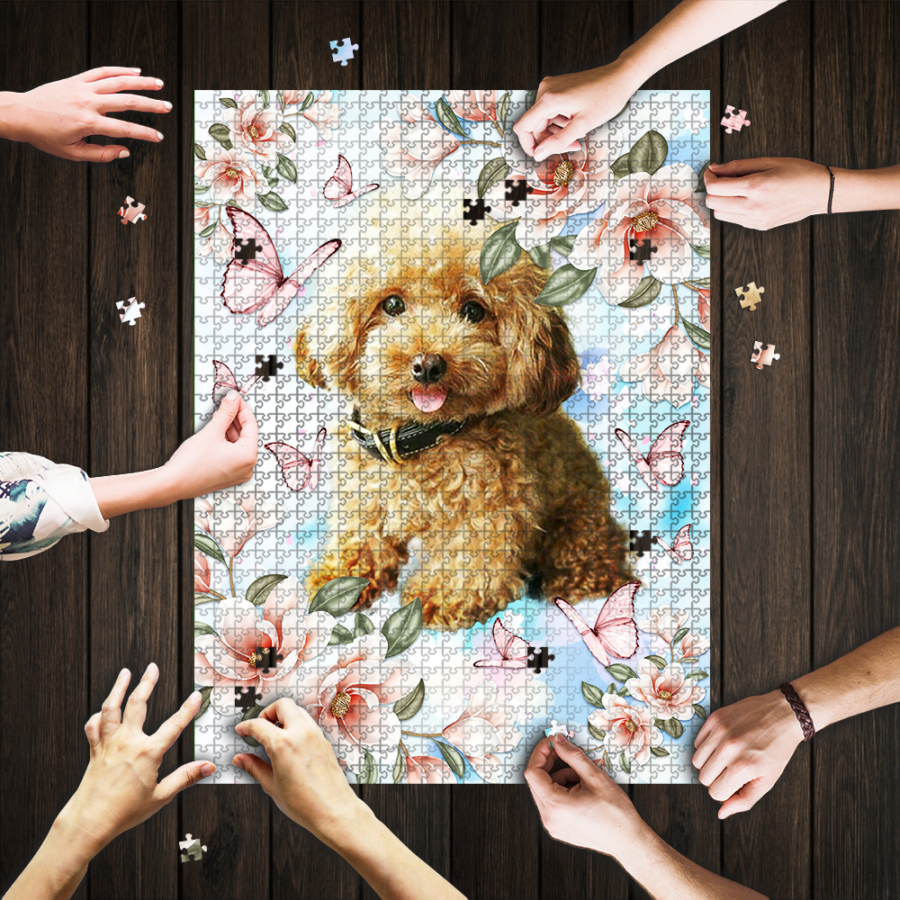 Poodle with flower and butterfly jigsaw puzzle 1