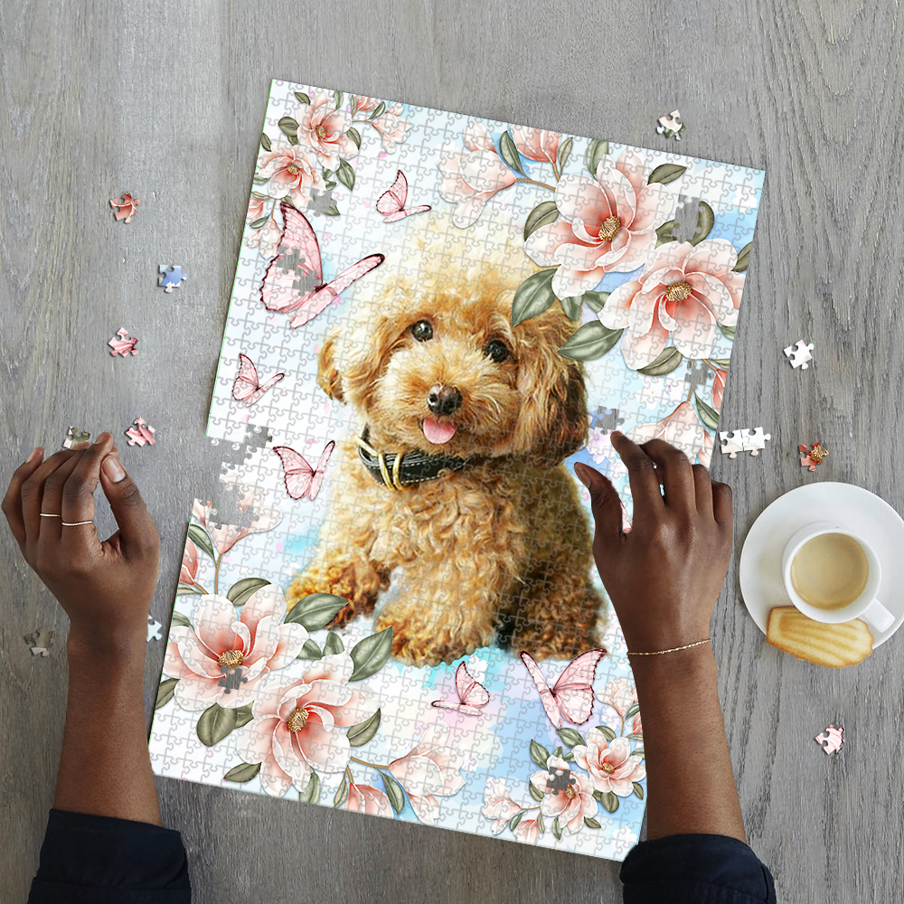 Poodle with flower and butterfly jigsaw puzzle 4