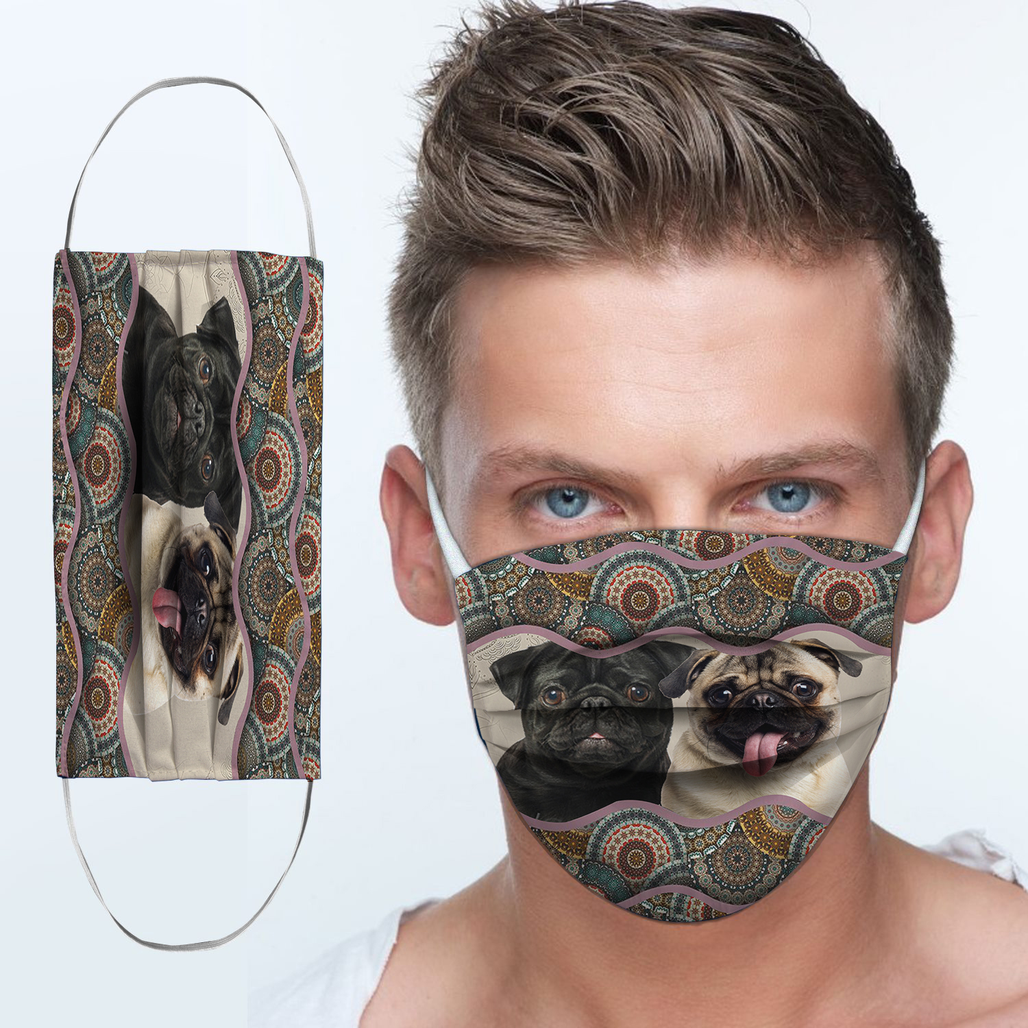 Pug dog boho pattern anti-dust cotton face mask 3