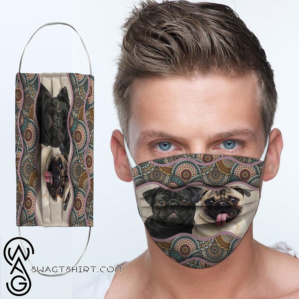 Pug dog boho pattern anti-dust cotton face mask