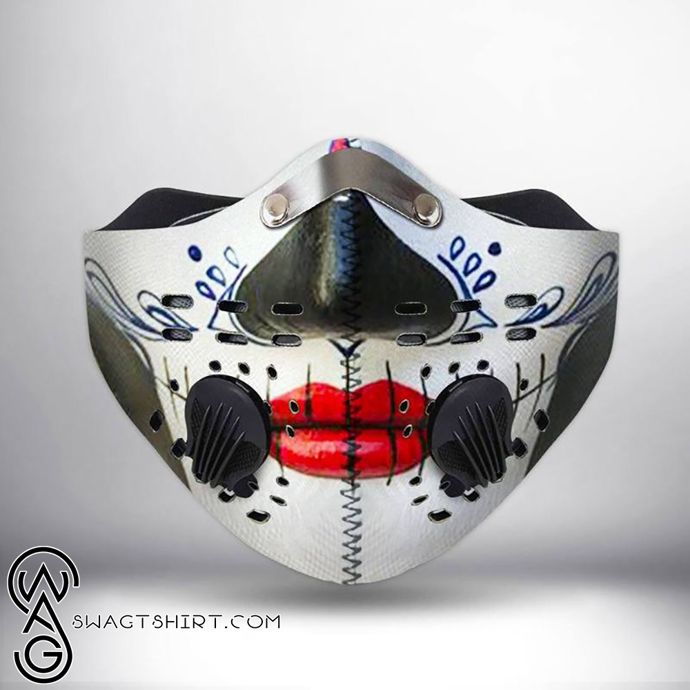 Skull red lips filter activated carbon face mask