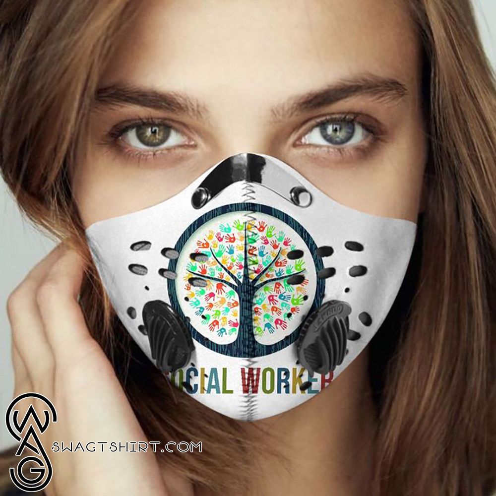 Social worker tree of life hands filter activated carbon face mask