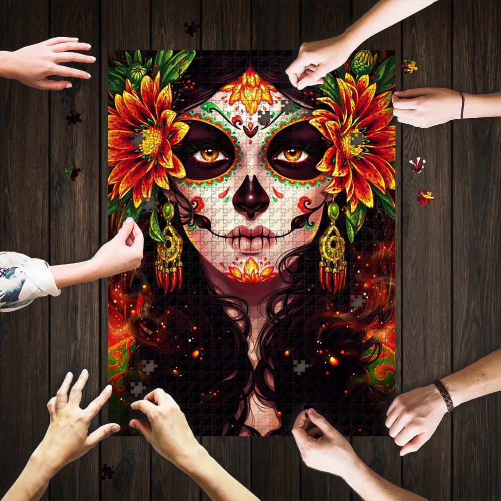 Sugar skull day of the dead jigsaw puzzle 1