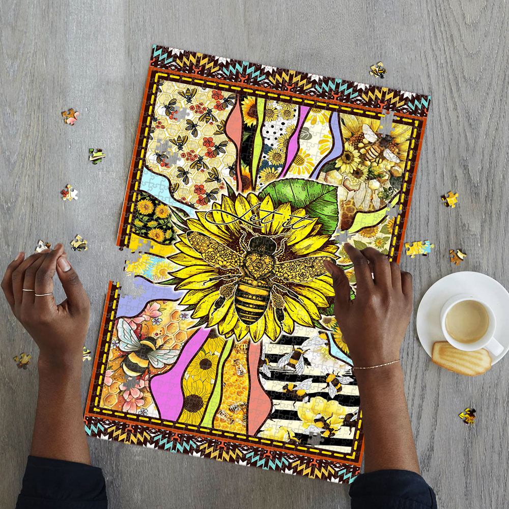 Sunflower bee let it be jigsaw puzzle 2