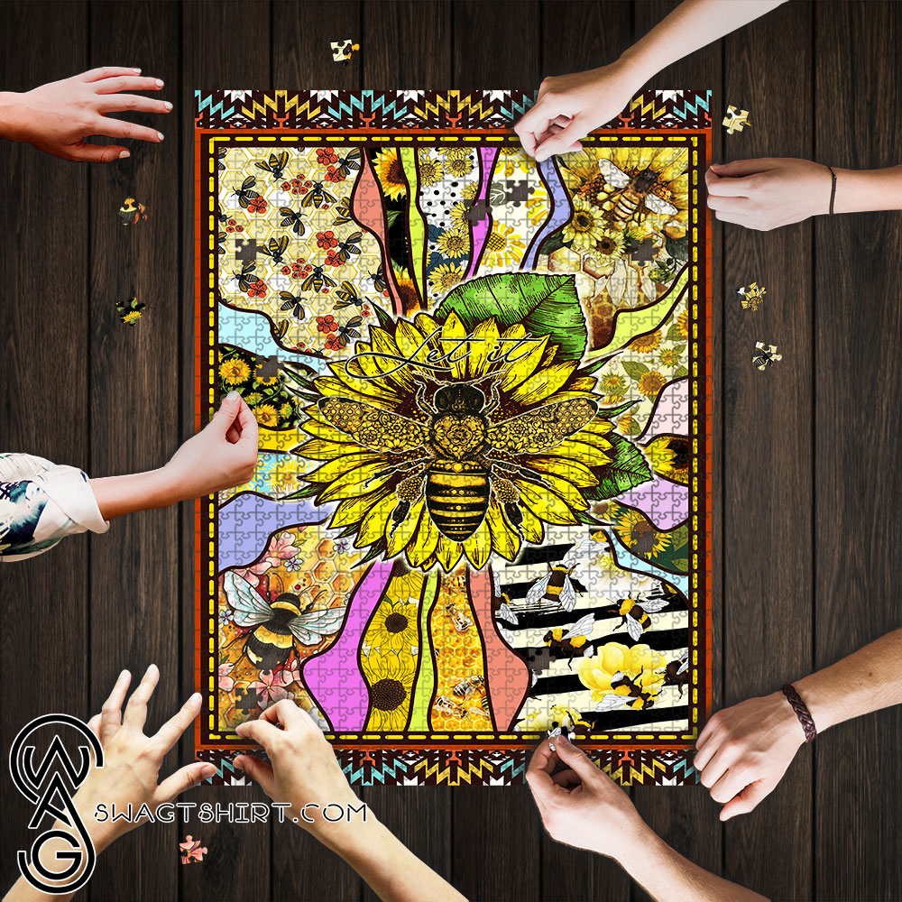 Sunflower bee let it be jigsaw puzzle