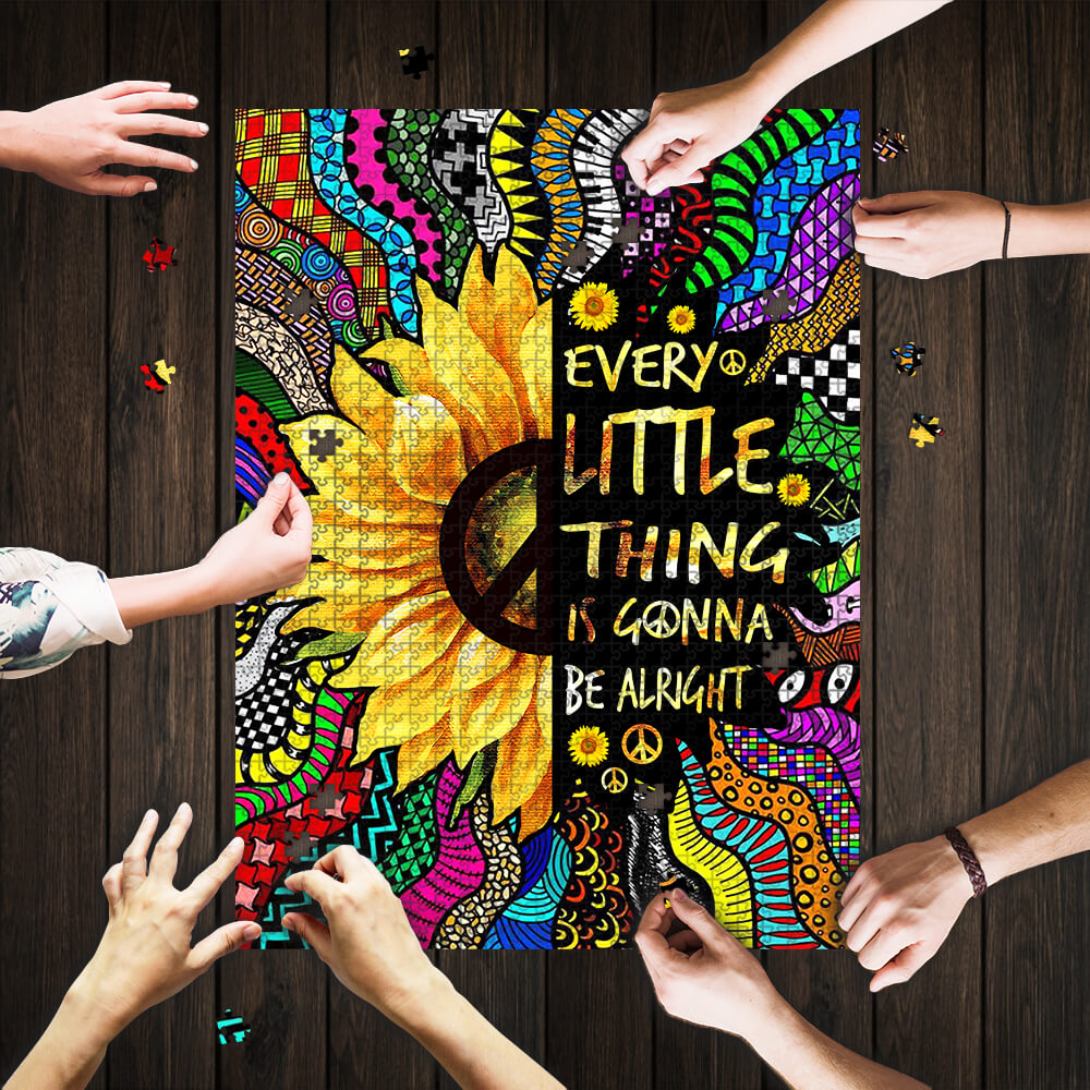 Sunflower every little thing is gonna be alright hippie jigsaw puzzle 1