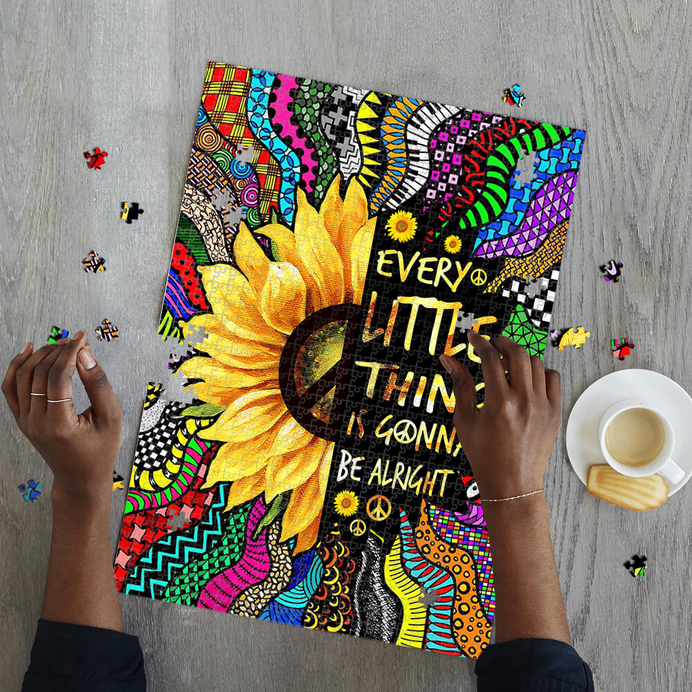 Sunflower every little thing is gonna be alright hippie jigsaw puzzle 2