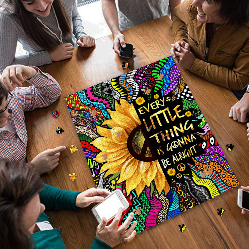Sunflower every little thing is gonna be alright hippie jigsaw puzzle 3