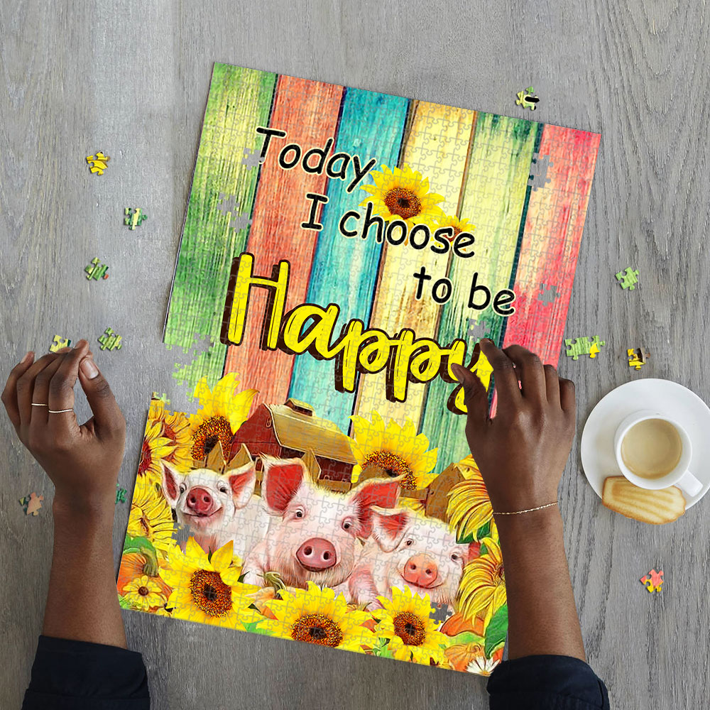 Sunflower today i choose to be happy pig jigsaw puzzle 3