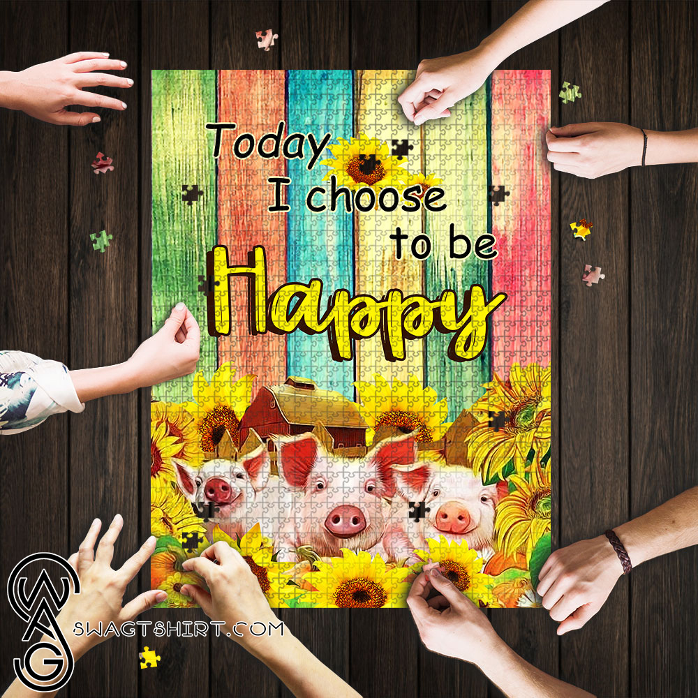 Sunflower today i choose to be happy pig jigsaw puzzle