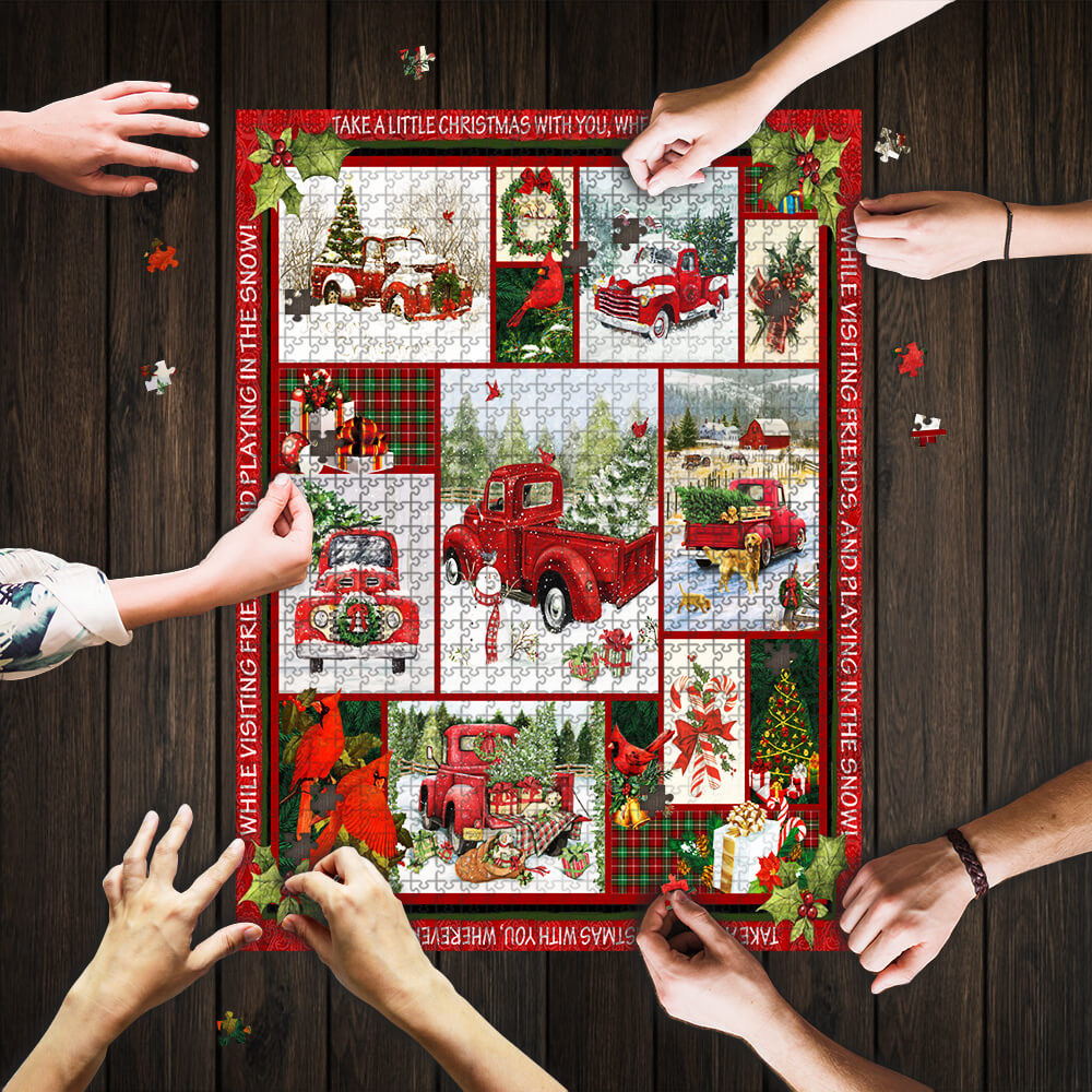 Take a little christmas with you red truck jigsaw puzzle 1