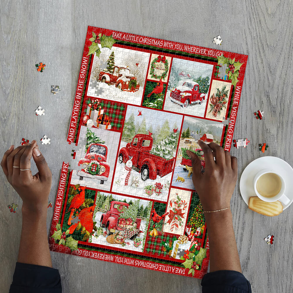 Take a little christmas with you red truck jigsaw puzzle 2