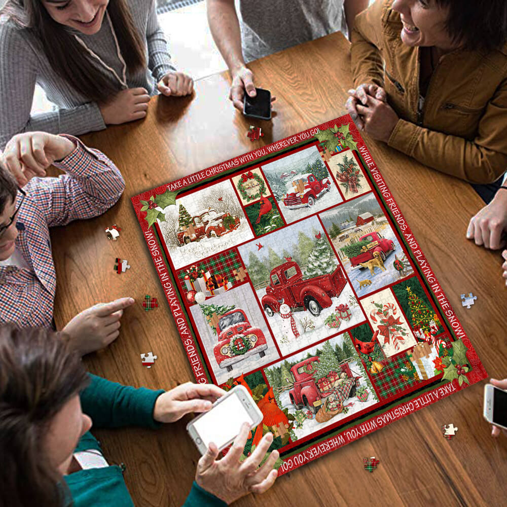 Take a little christmas with you red truck jigsaw puzzle 3