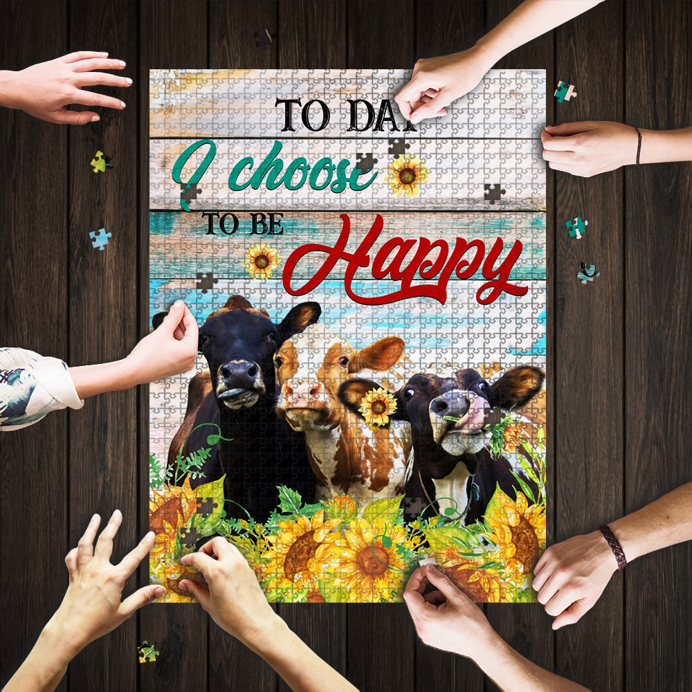 Today i choose to be happy cow jigsaw puzzle 1