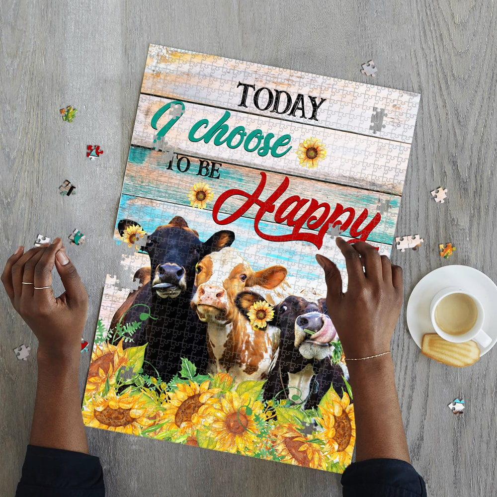 Today i choose to be happy cow jigsaw puzzle 2
