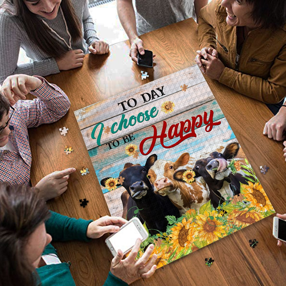 Today i choose to be happy cow jigsaw puzzle 3
