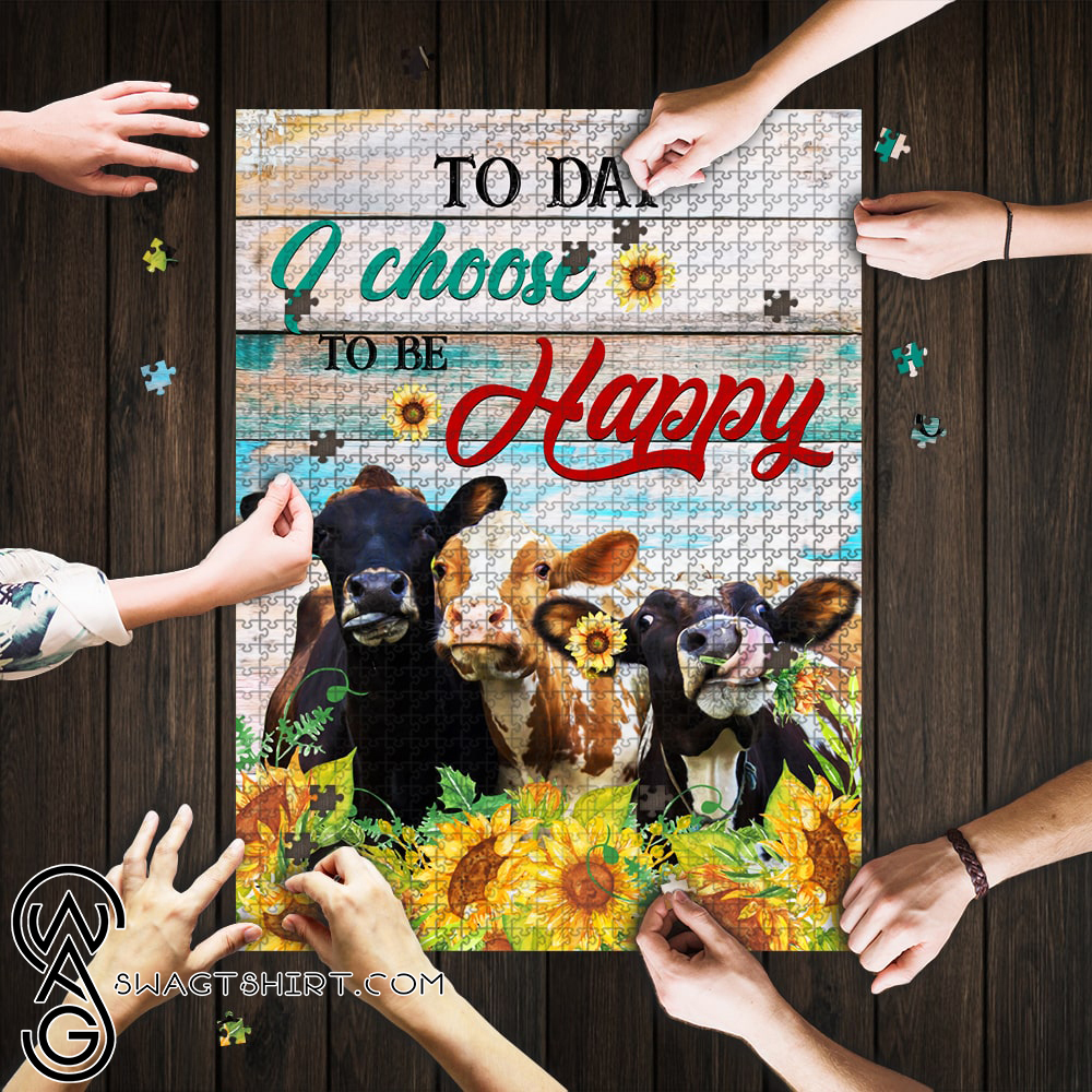 Today i choose to be happy cow jigsaw puzzle