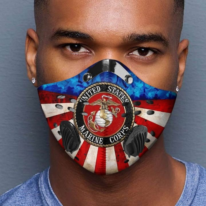 United states marine corps logo filter activated carbon face mask 4
