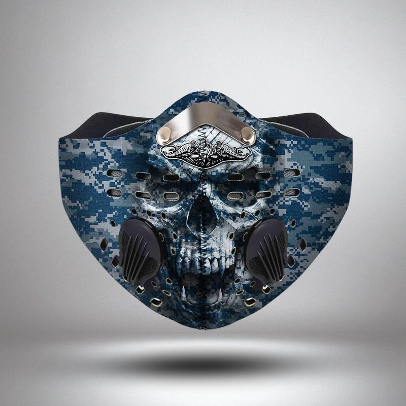 United states navy submarine force skull filter activated carbon face mask 3
