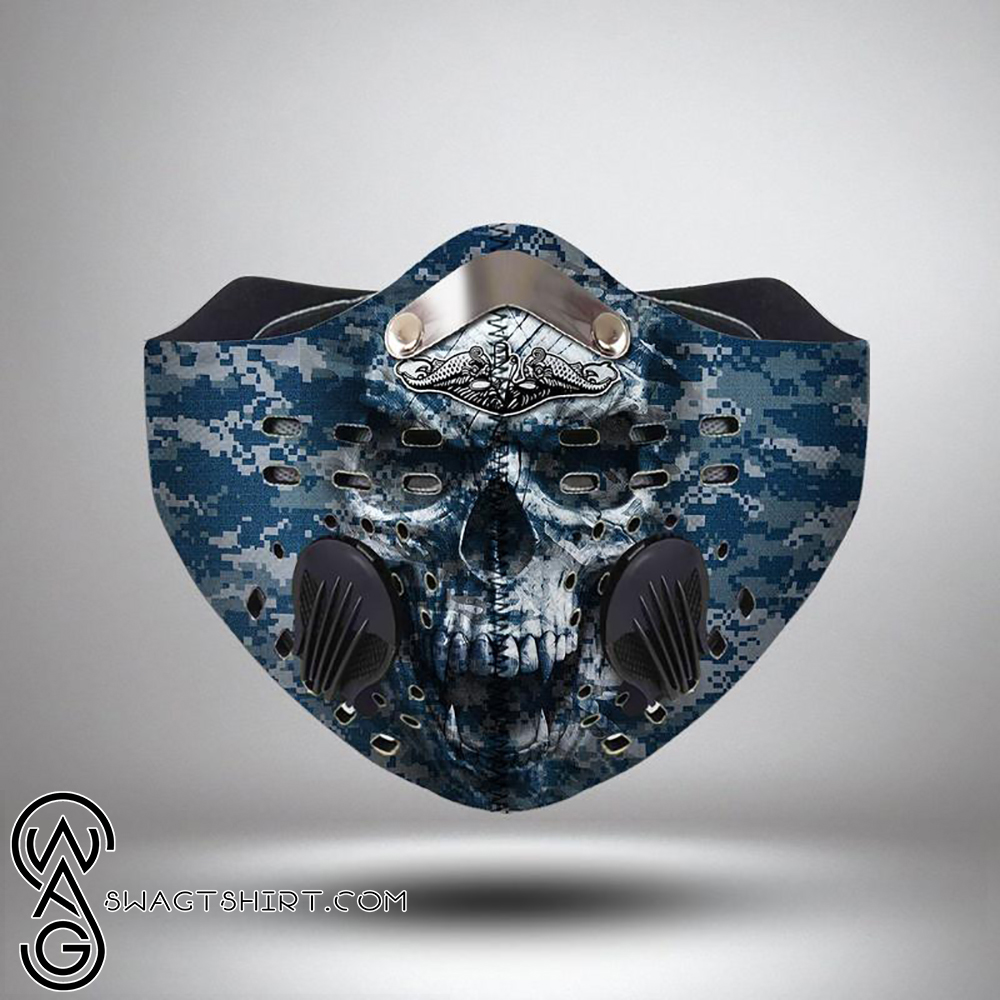 United states navy submarine force skull filter activated carbon face mask