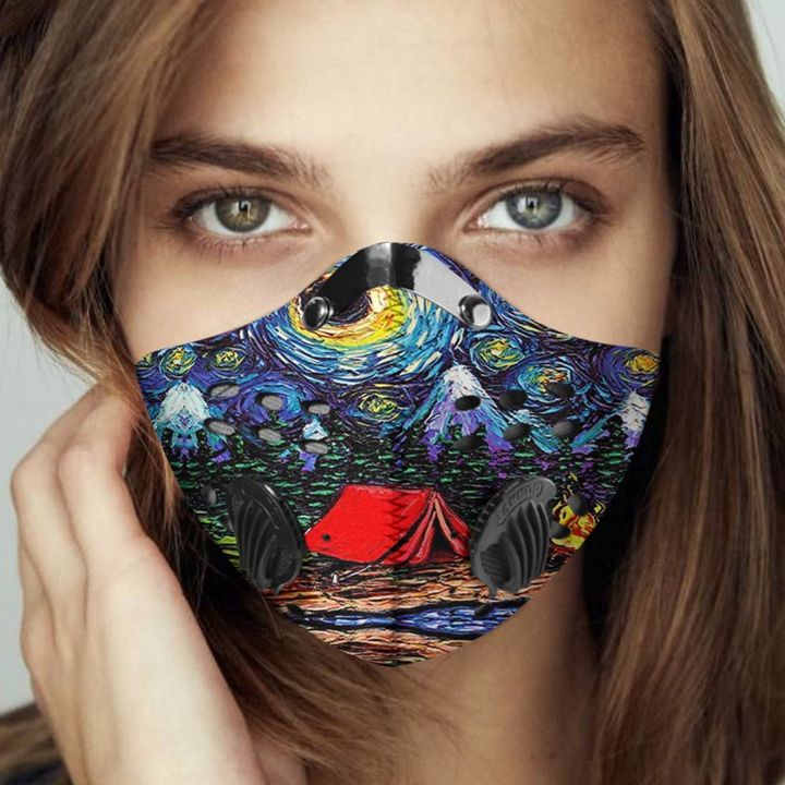 Vincent van gogh starry night camping filter activated carbon face mask 1