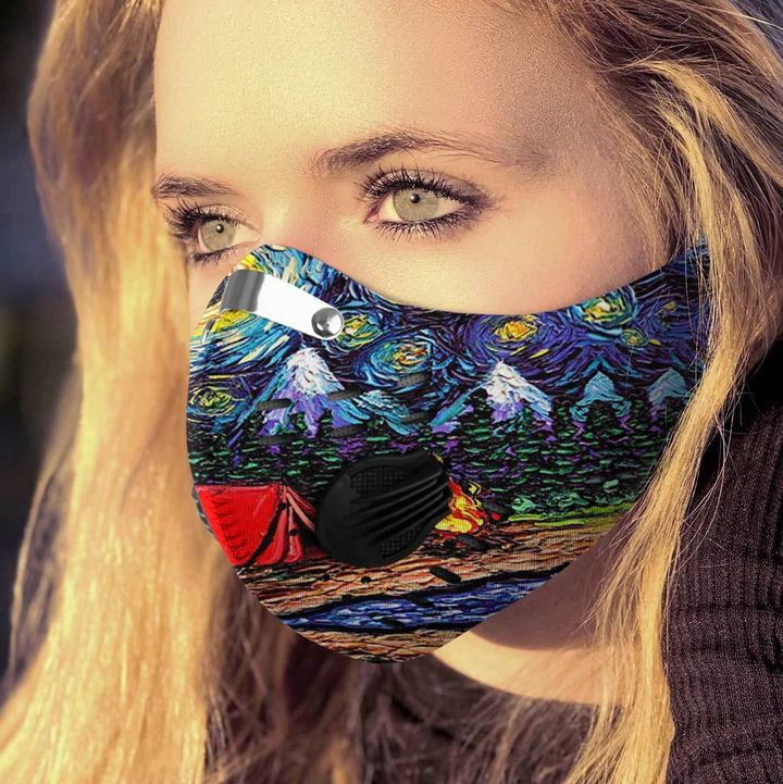 Vincent van gogh starry night camping filter activated carbon face mask 2