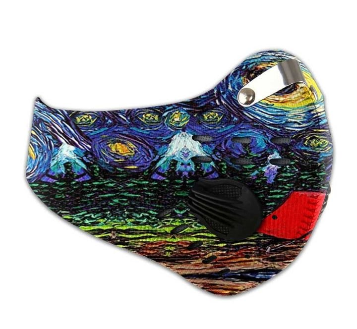 Vincent van gogh starry night camping filter activated carbon face mask 4