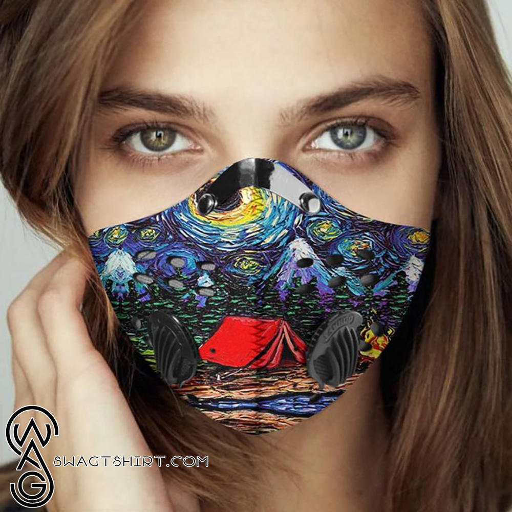Vincent van gogh starry night camping filter activated carbon face mask