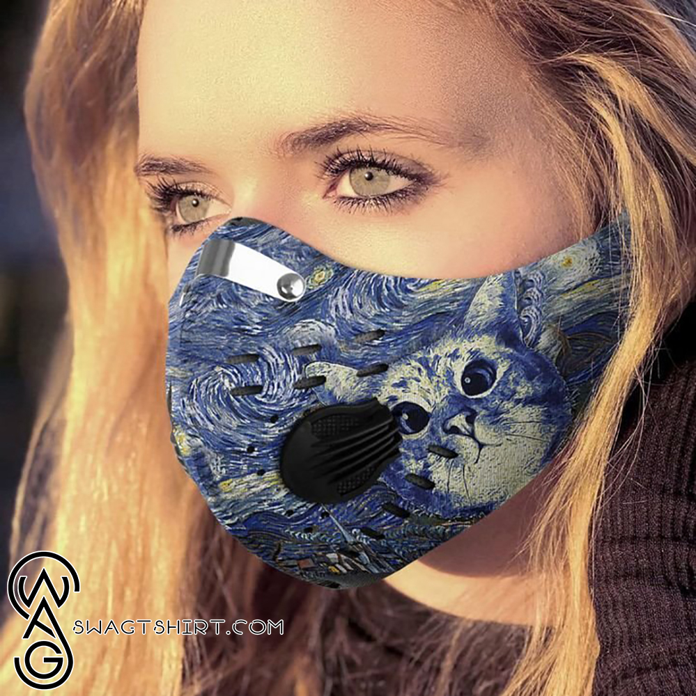 Vincent van gogh starry night cat art filter activated carbon face mask