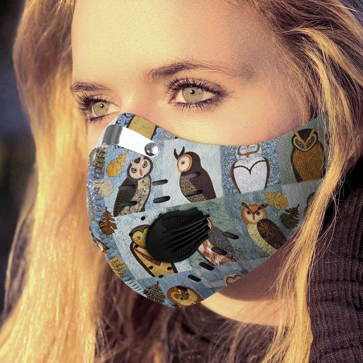 Vintage autumn owls filter activated carbon face mask 2