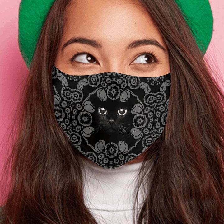 Vintage black cat anti-dust cotton face mask 4