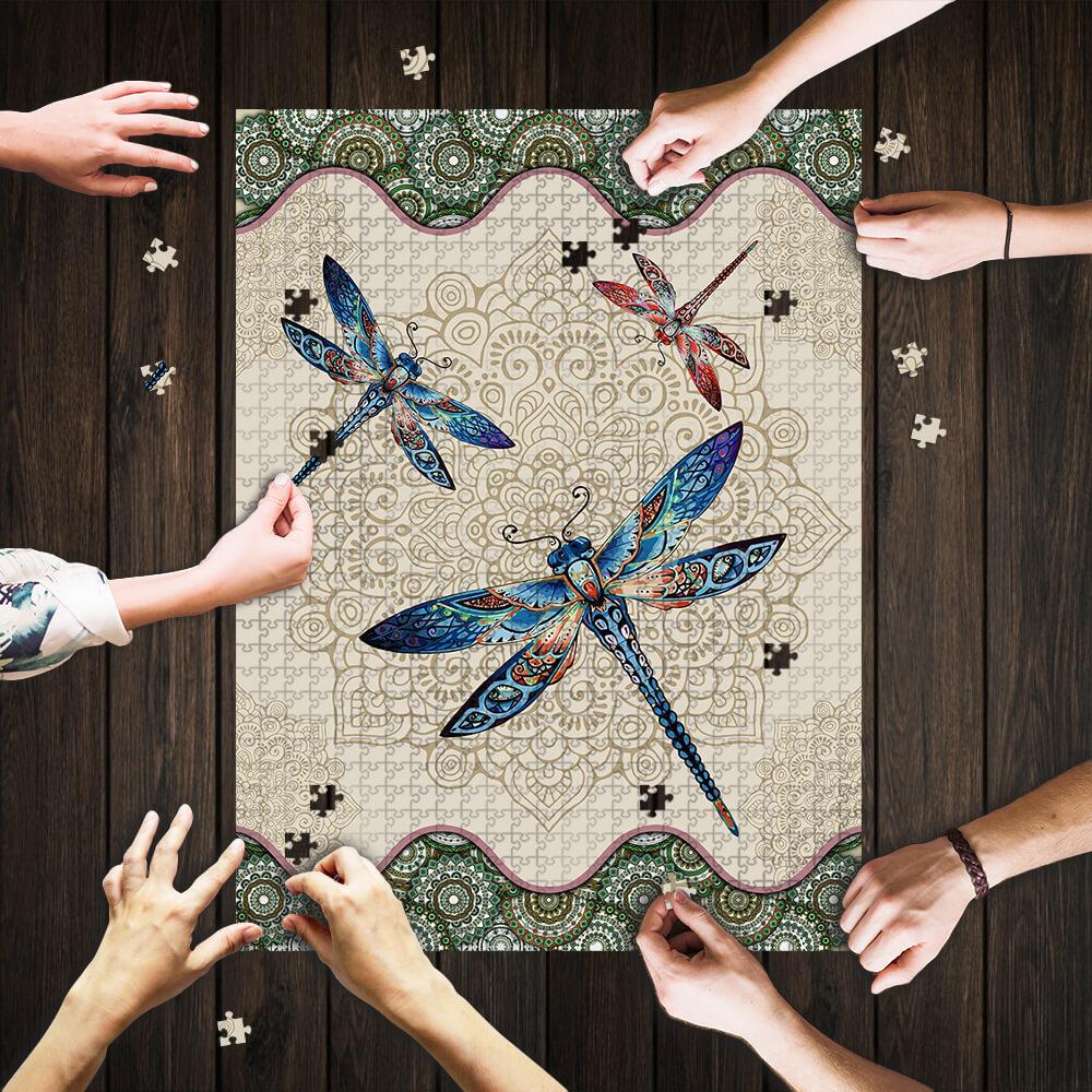 Vintage dragonfly mandala puzzle 3