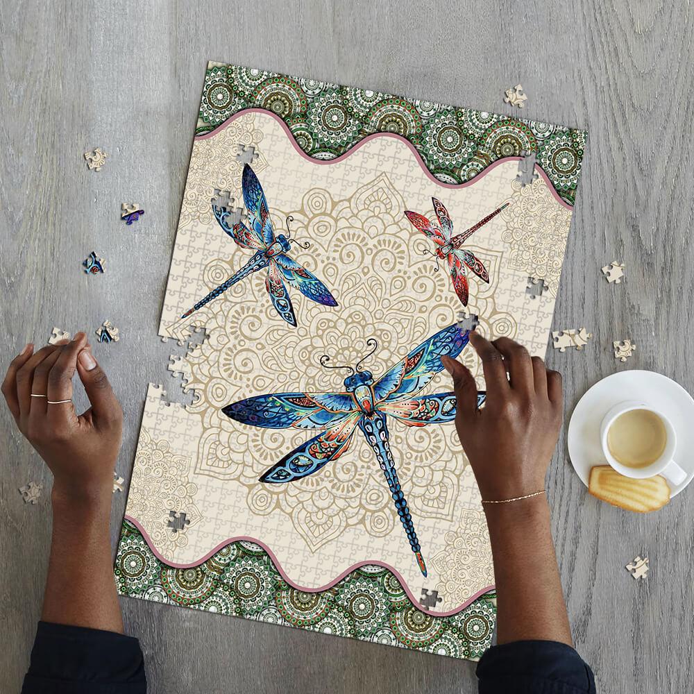 Vintage dragonfly mandala puzzle 4