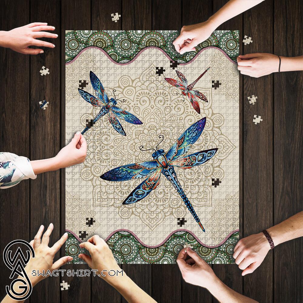 Vintage dragonfly mandala puzzle