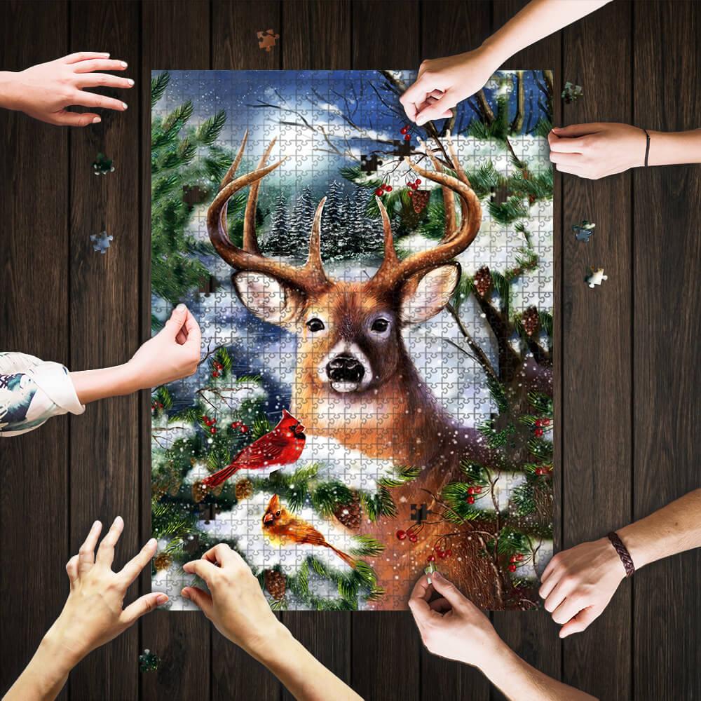 Winter deer jigsaw puzzle 1