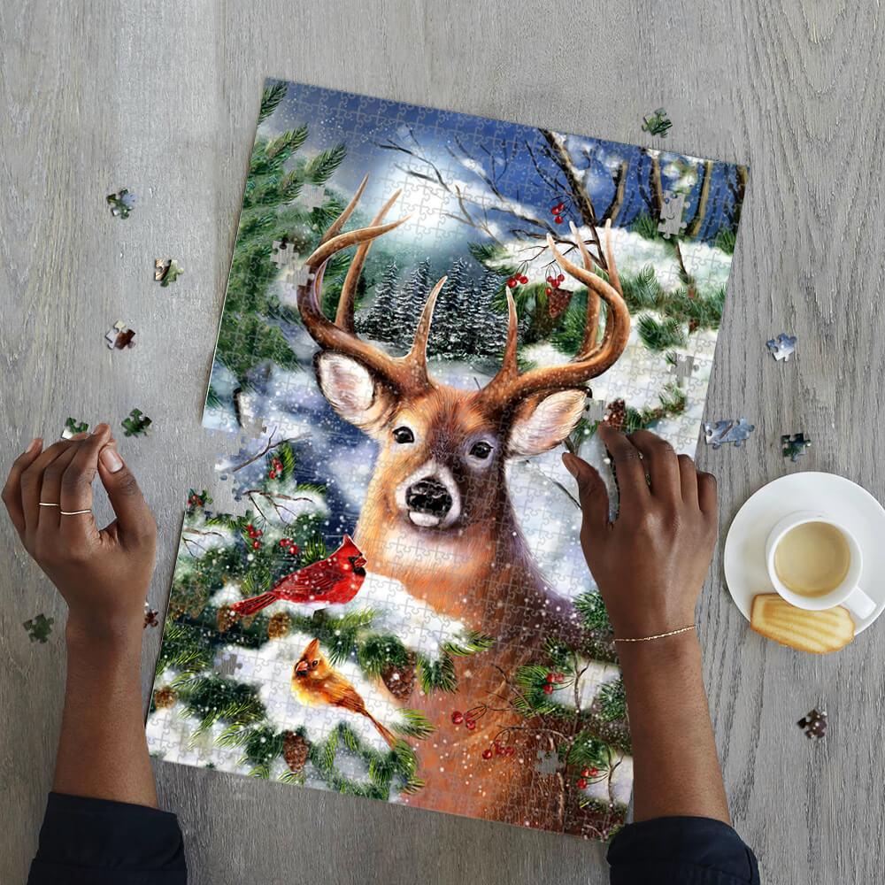 Winter deer jigsaw puzzle 3
